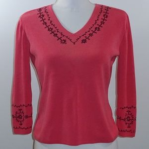 REQUIREMENTS Women Blouse Coral w Black Embroidery